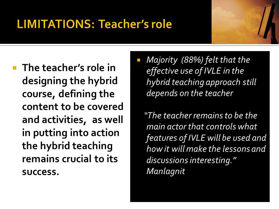 LIMITATIONS: Teacher's role