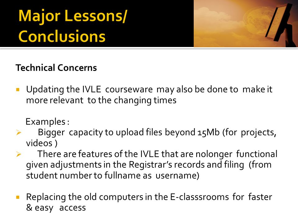 Major Lessons/ Conclusions