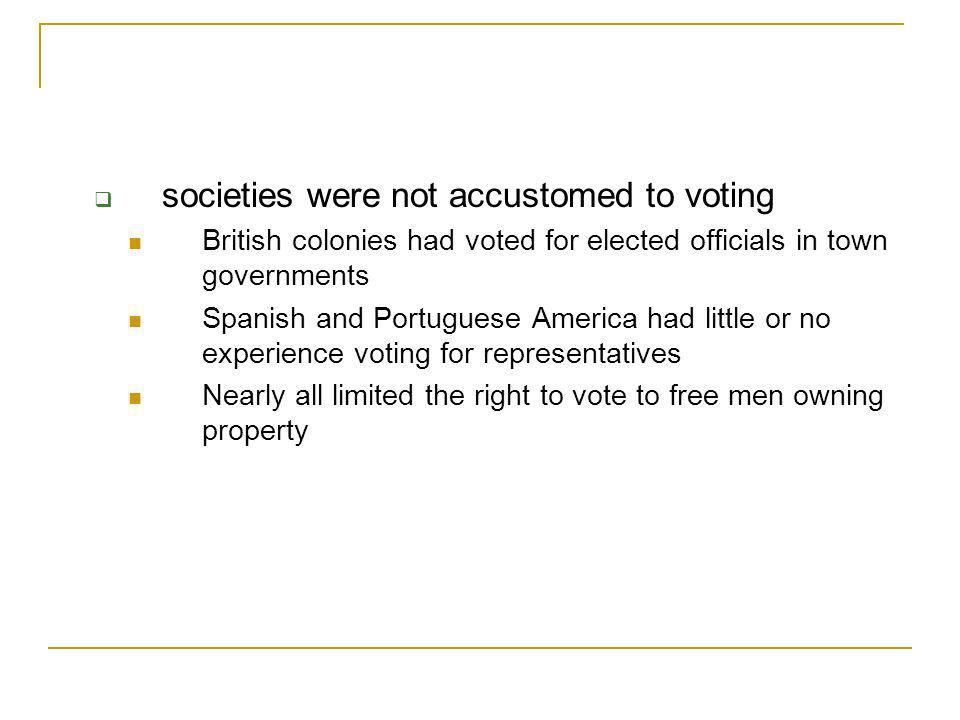 societies were not accustomed to voting