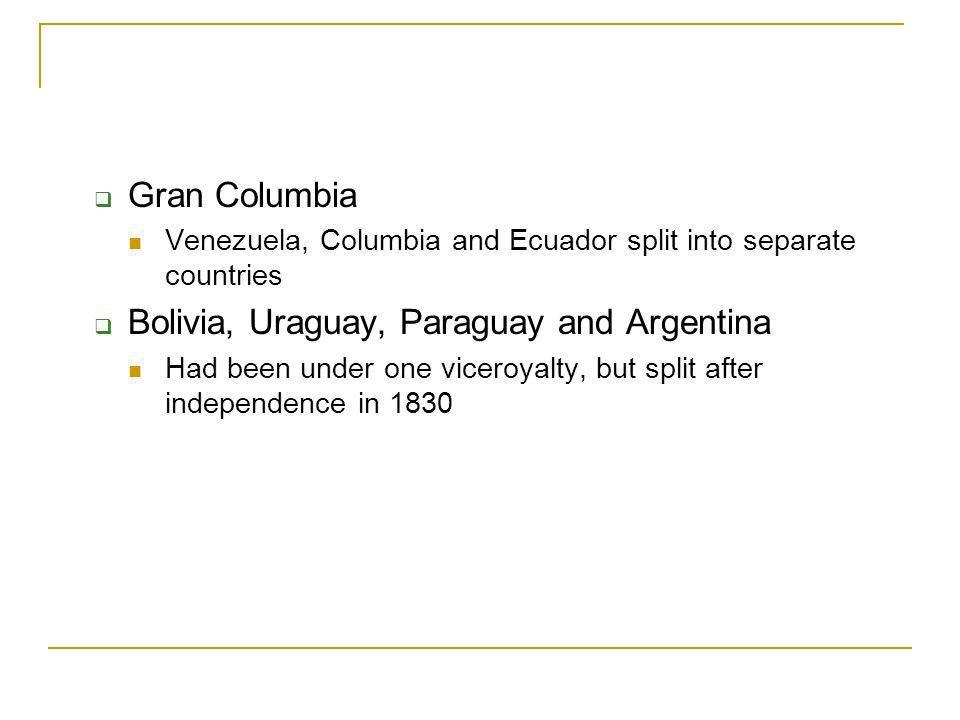 Bolivia, Uraguay, Paraguay and Argentina