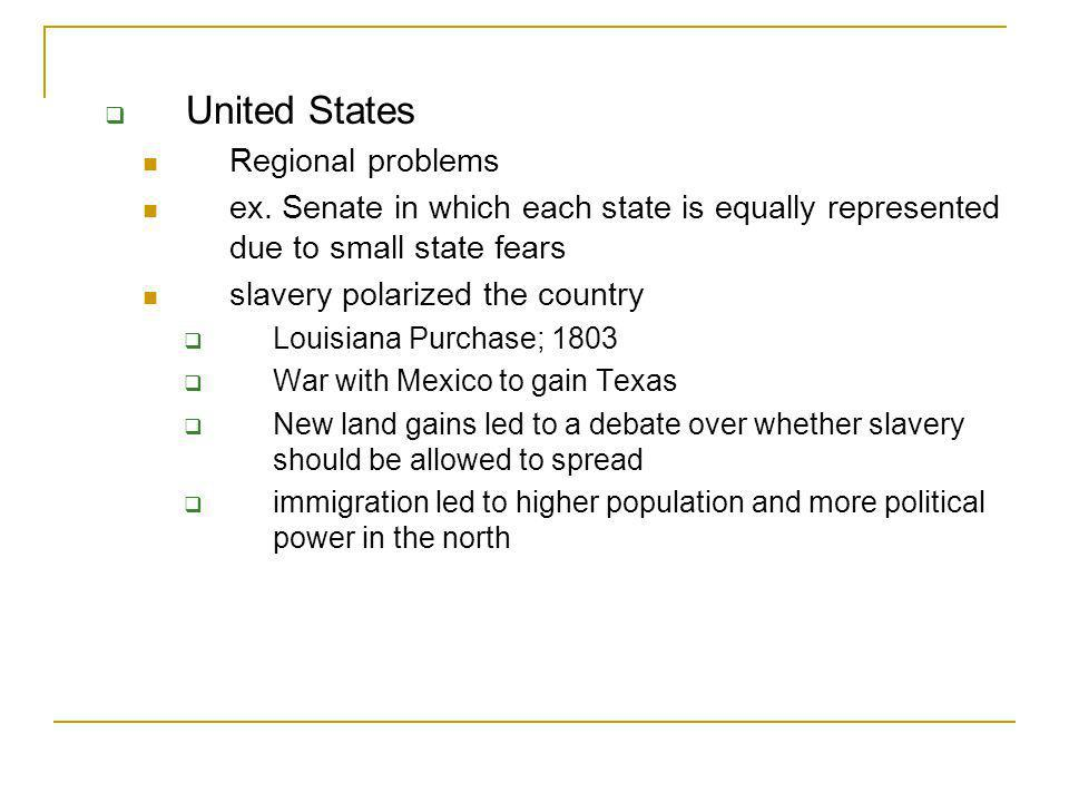 United States Regional problems