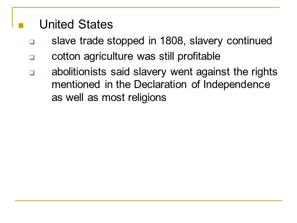 United States slave trade stopped in 1808, slavery continued