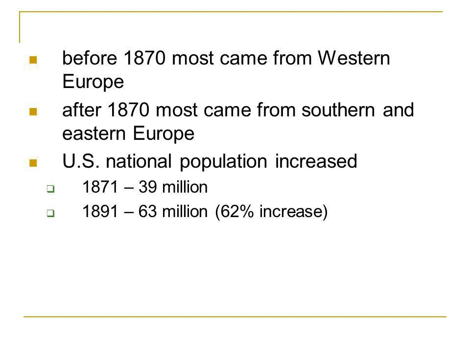 before 1870 most came from Western Europe