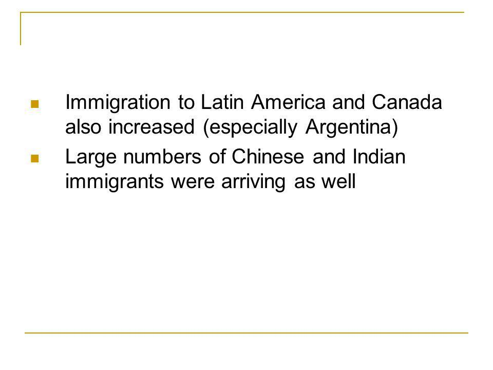 Immigration to Latin America and Canada also increased (especially Argentina)