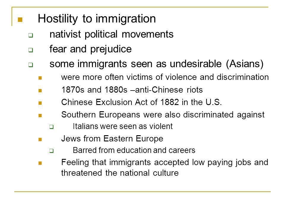 Hostility to immigration