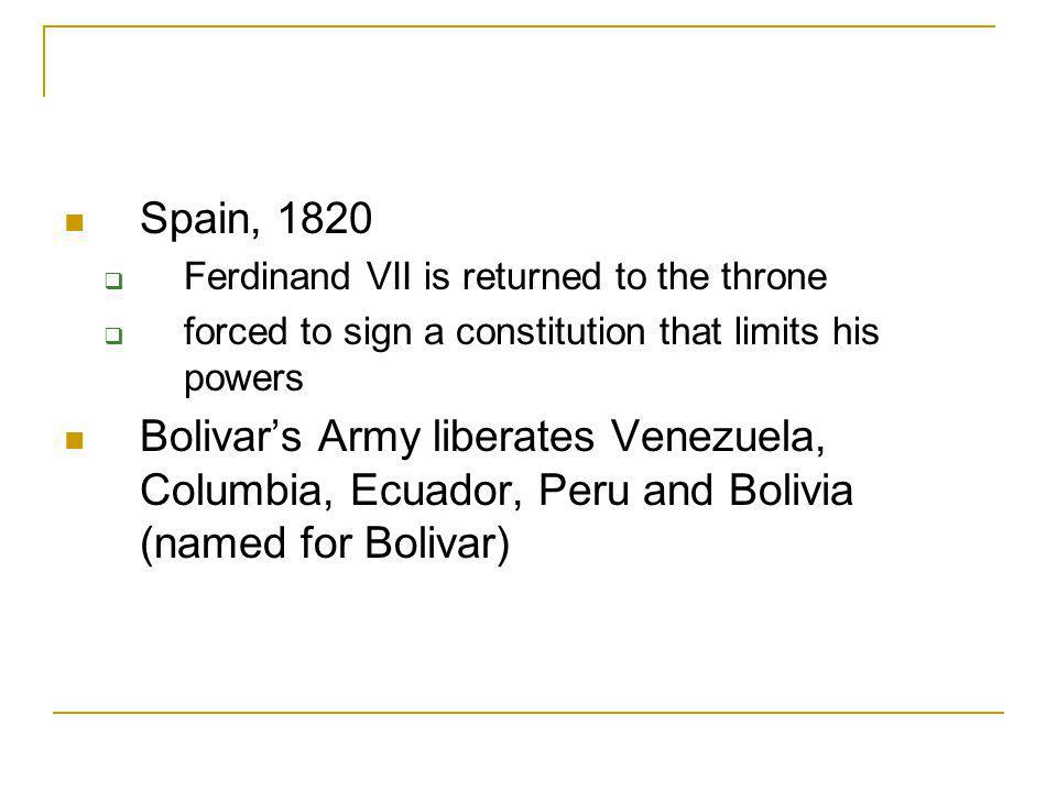 Spain, 1820 Ferdinand VII is returned to the throne. forced to sign a constitution that limits his powers.
