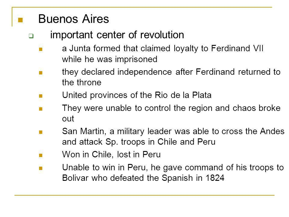 Buenos Aires important center of revolution