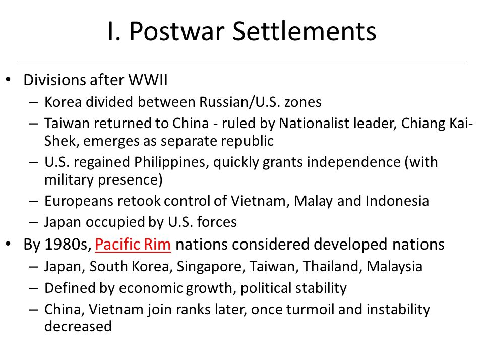 I. Postwar Settlements Divisions after WWII