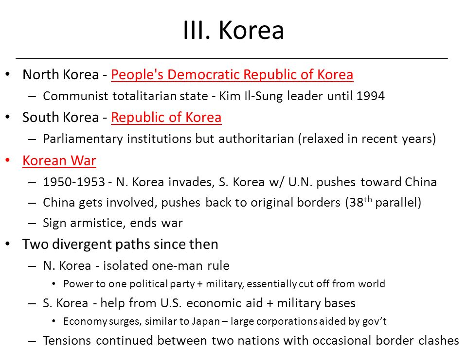 III. Korea North Korea - People s Democratic Republic of Korea