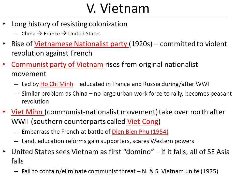 V. Vietnam Long history of resisting colonization