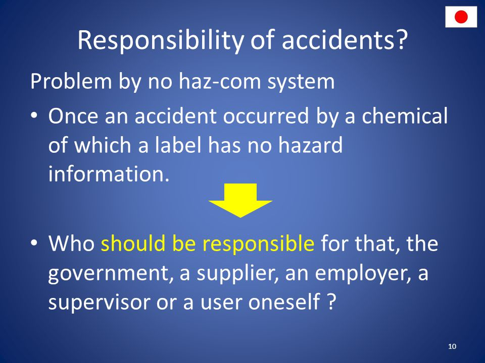 Responsibility of accidents