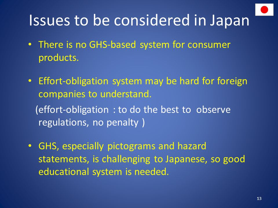 Issues to be considered in Japan