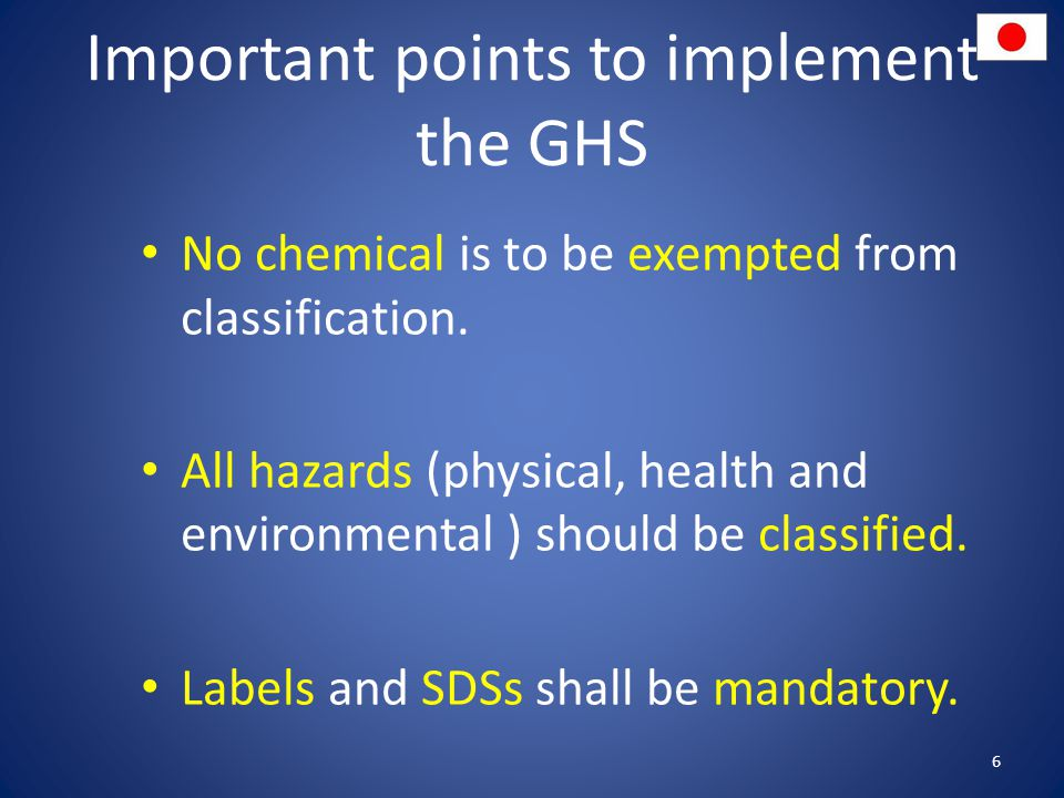 Important points to implement the GHS