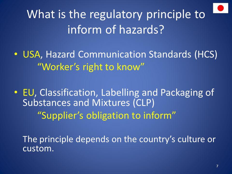 What is the regulatory principle to inform of hazards