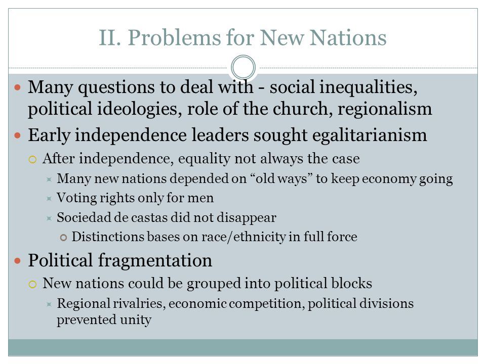 II. Problems for New Nations