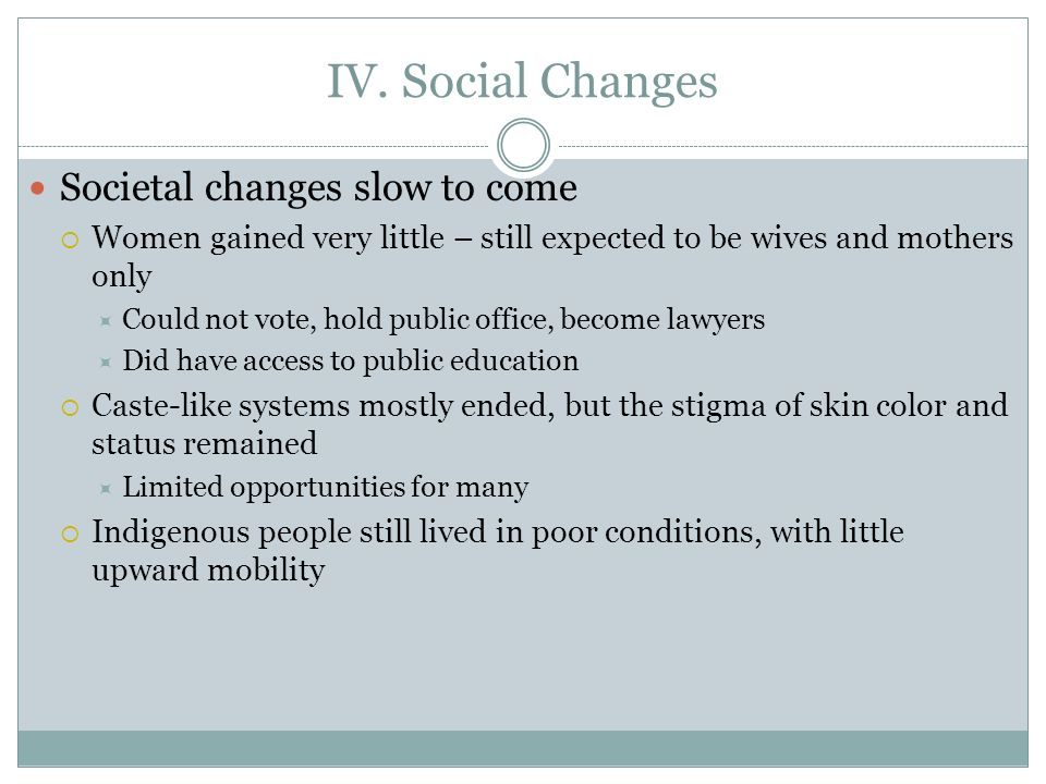 IV. Social Changes Societal changes slow to come