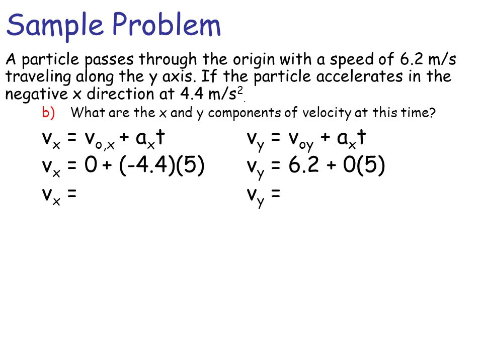Sample Problem vx = vo,x + axt vy = voy + axt
