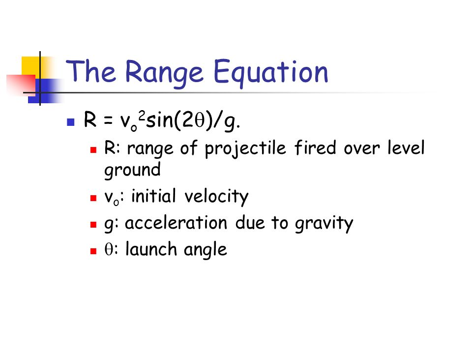 The Range Equation R = vo2sin(2q)/g.
