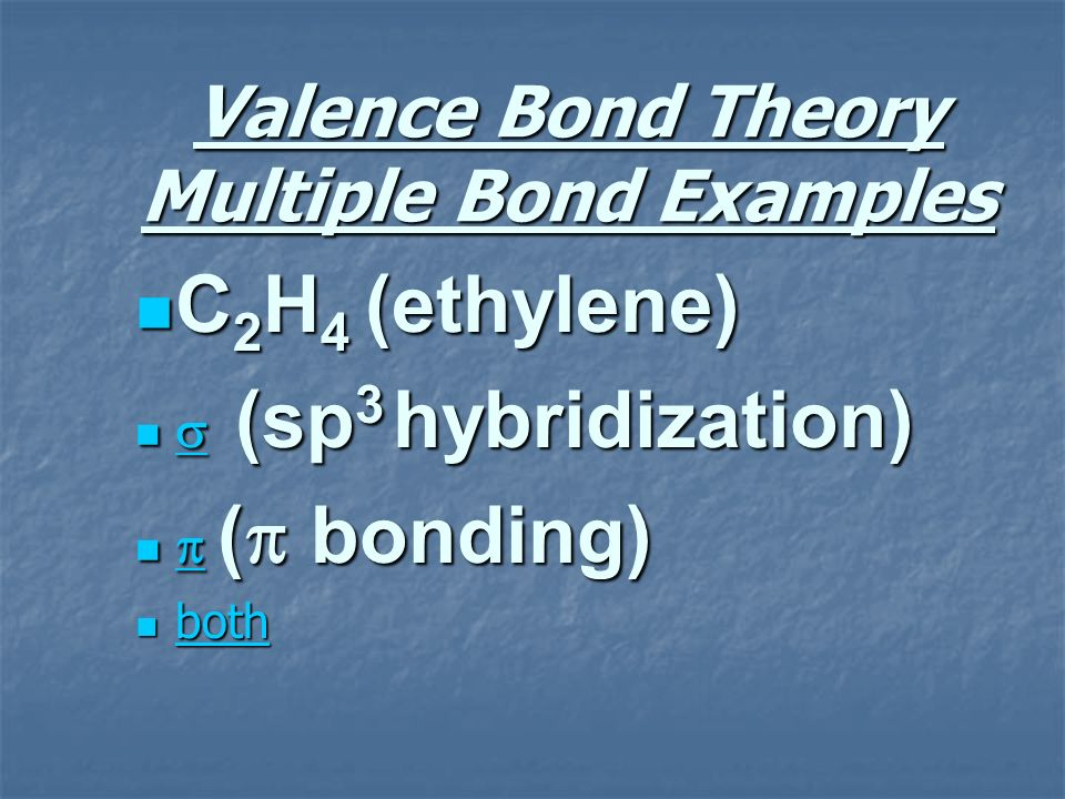 Valence Bond Theory Multiple Bond Examples