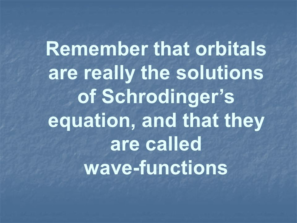 Remember that orbitals are really the solutions of Schrodinger's equation, and that they are called
