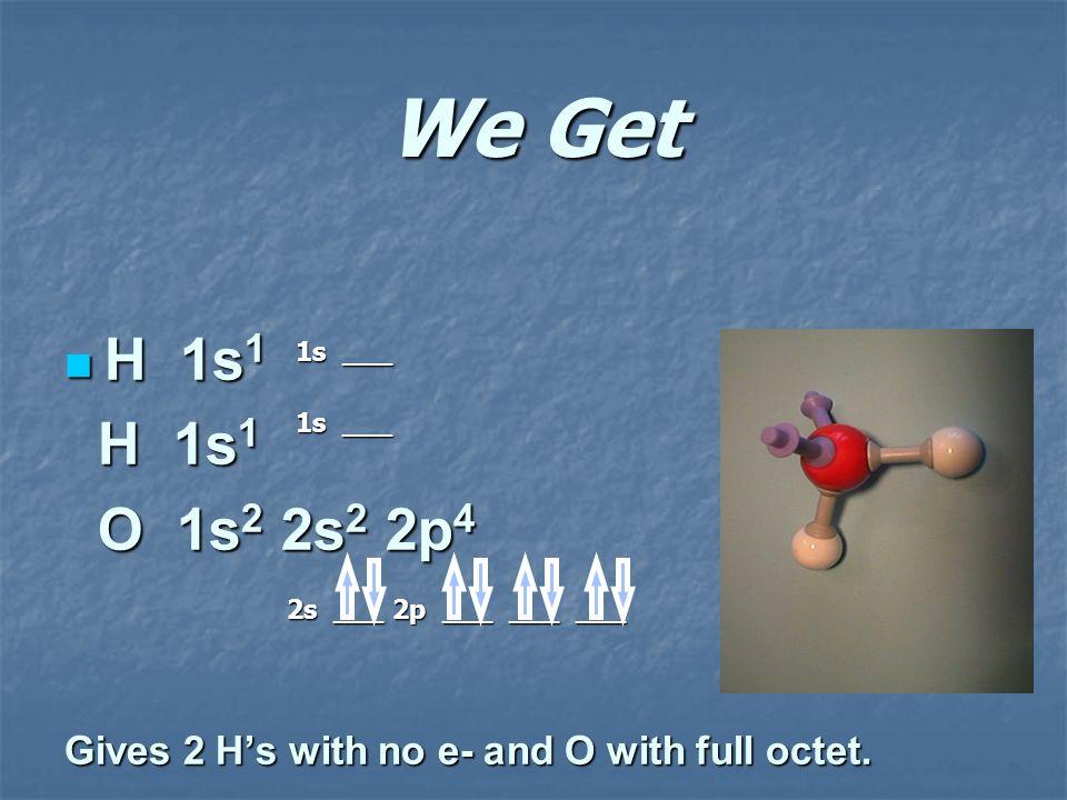 We Get H 1s1. O 1s2 2s2 2p4. Gives 2 H's with no e- and O with full octet.
