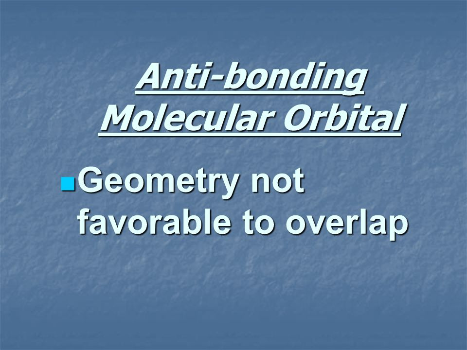 Anti-bonding Molecular Orbital