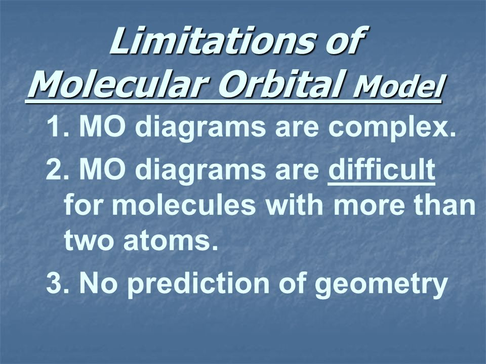 Limitations of Molecular Orbital Model