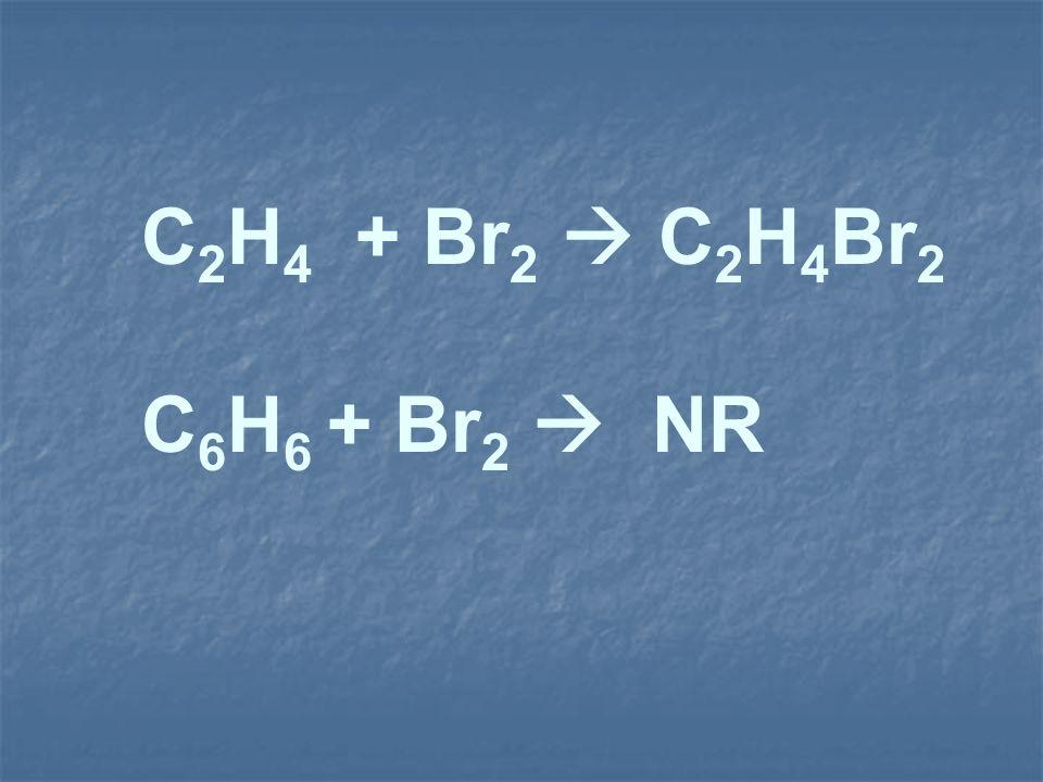 C2H4 + Br2  C2H4Br2 C6H6 + Br2  NR