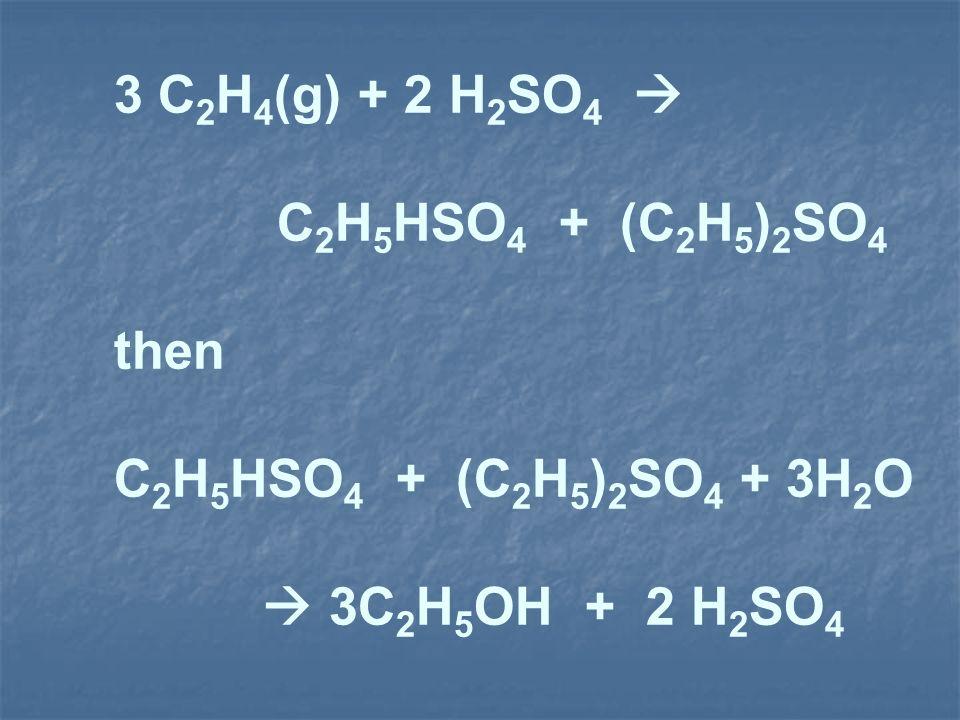 3 C2H4(g) + 2 H2SO4  C2H5HSO4 + (C2H5)2SO4. then.