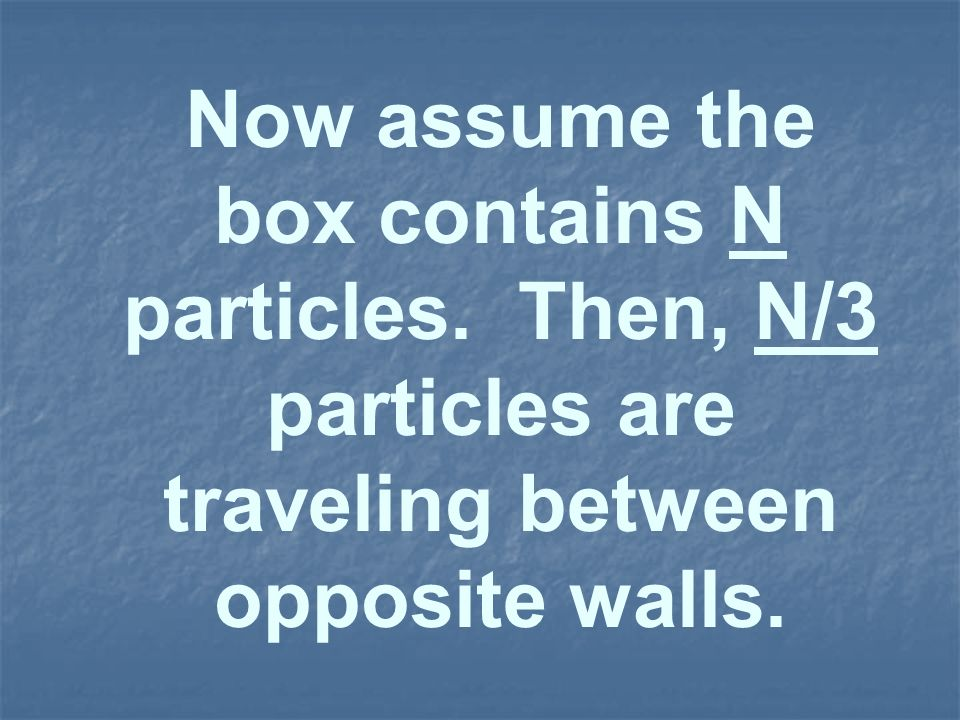Now assume the box contains N particles