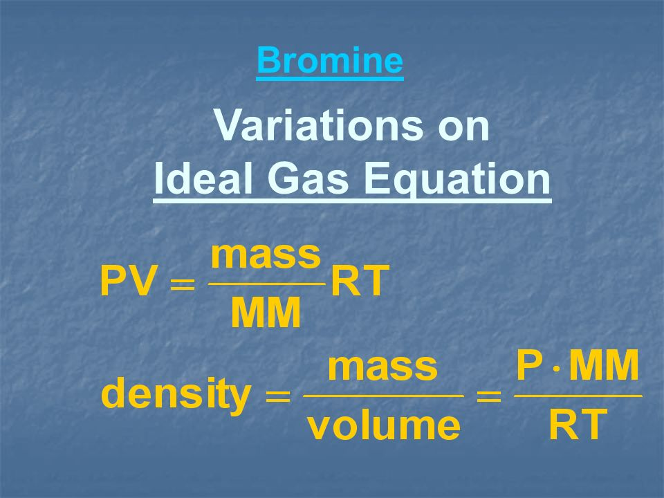 Variations on Ideal Gas Equation