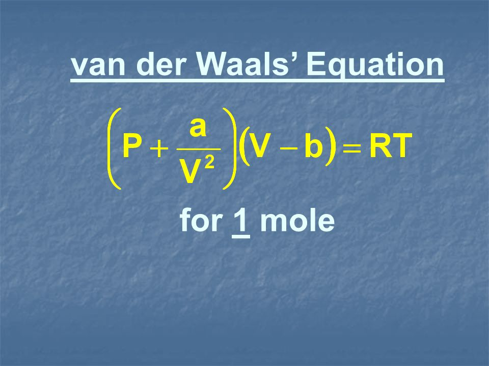 van der Waals' Equation