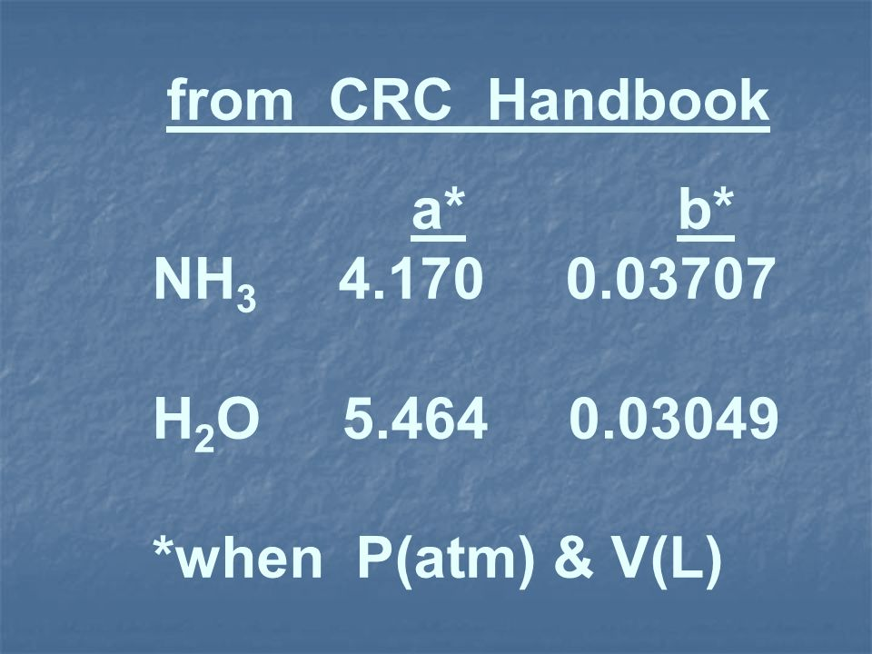from CRC Handbook a* b* NH3 4.170 0.03707.