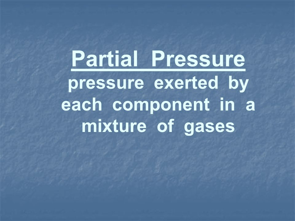 pressure exerted by each component in a mixture of gases