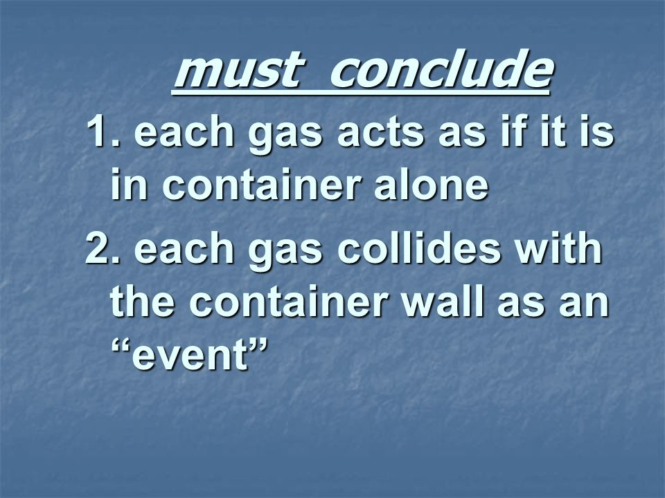 must conclude 1. each gas acts as if it is in container alone