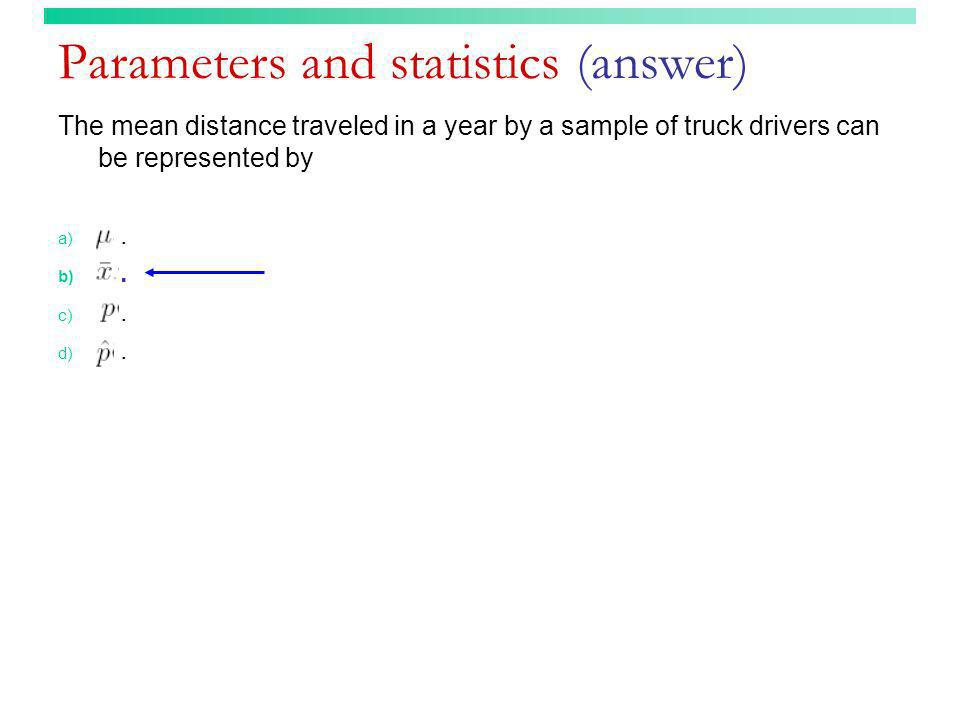 Parameters and statistics (answer)