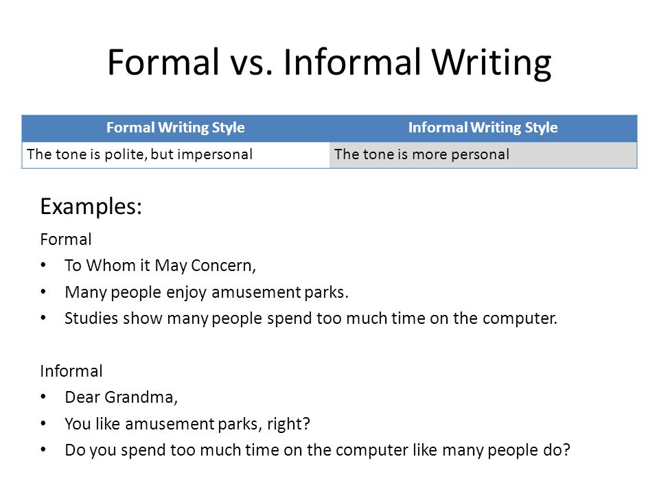 informal writing style If something's informal, it's casual and relaxed and doesn't follow any particular rules or conventions, whether that's a style of writing, or the dress code for your dinner party.