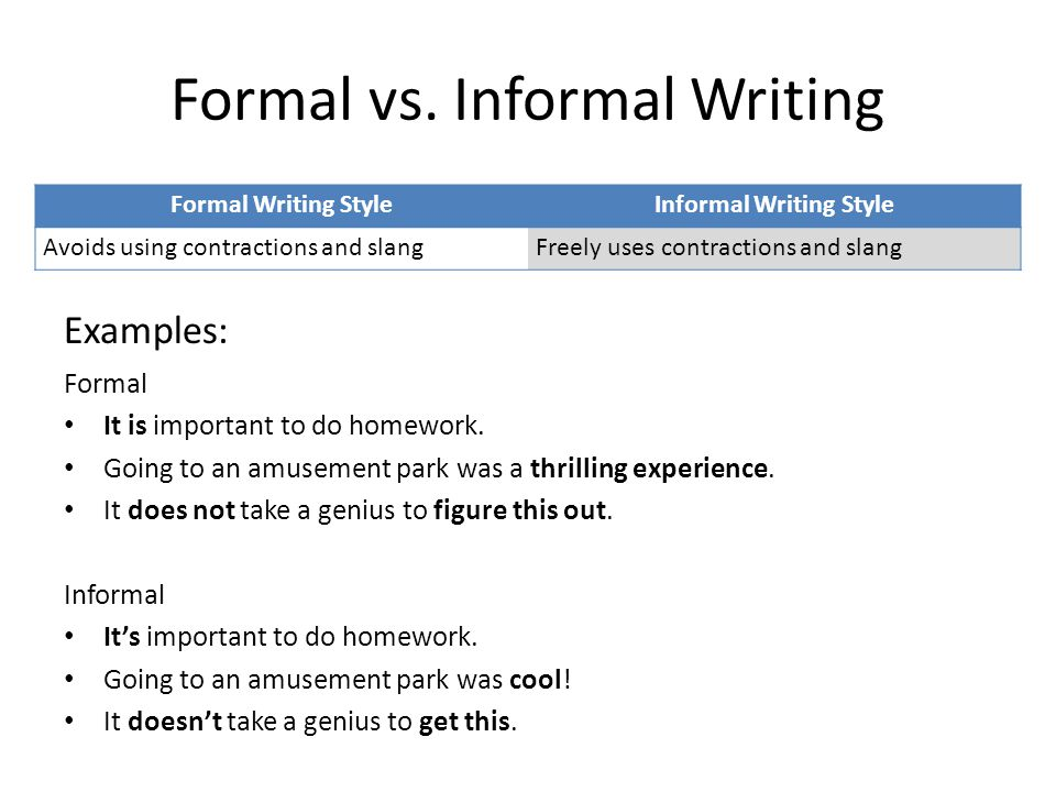 Formal vs. Informal Writing