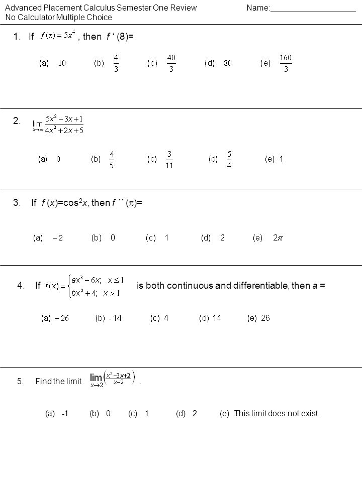 3. If f (x)=cos2x, then f ´´ ()=