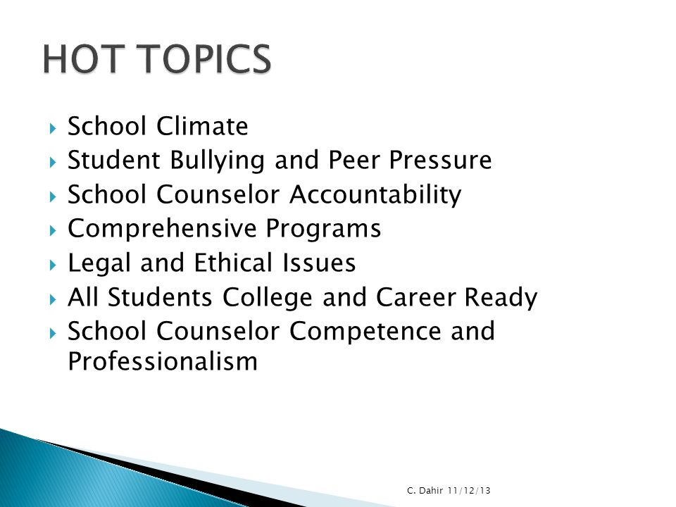 HOT TOPICS School Climate Student Bullying and Peer Pressure