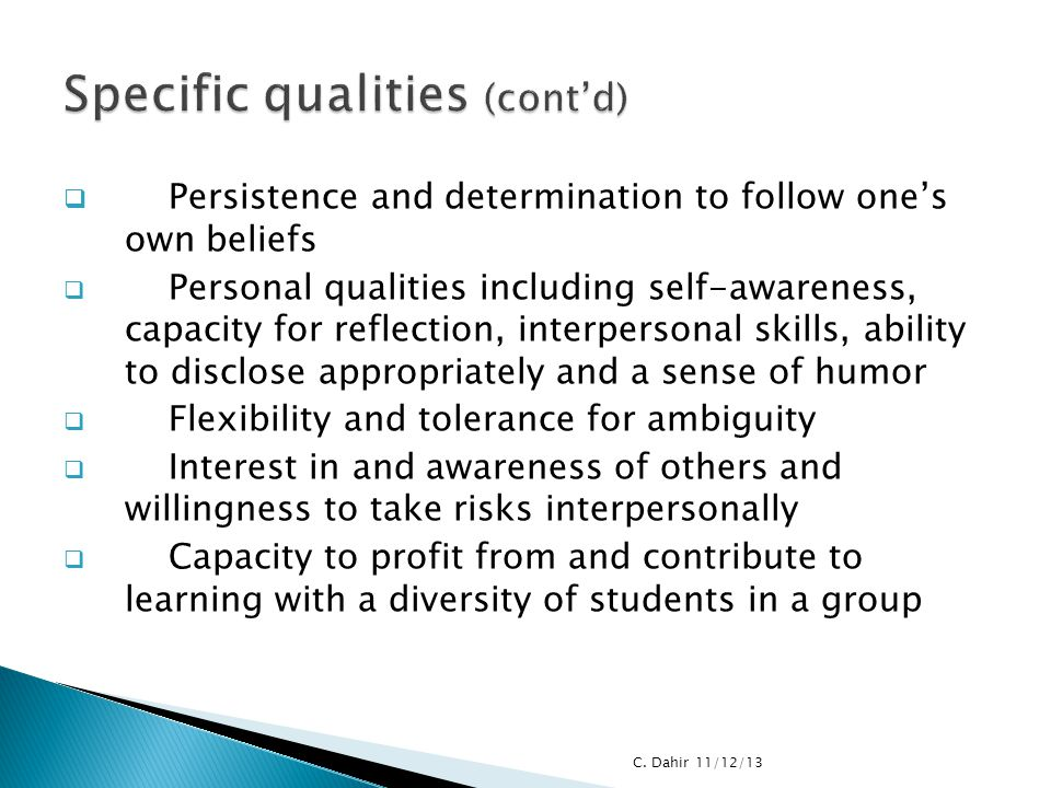 Specific qualities (cont'd)
