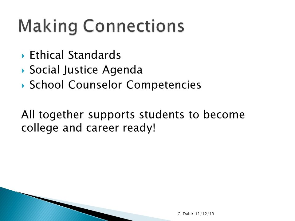 Making Connections Ethical Standards Social Justice Agenda