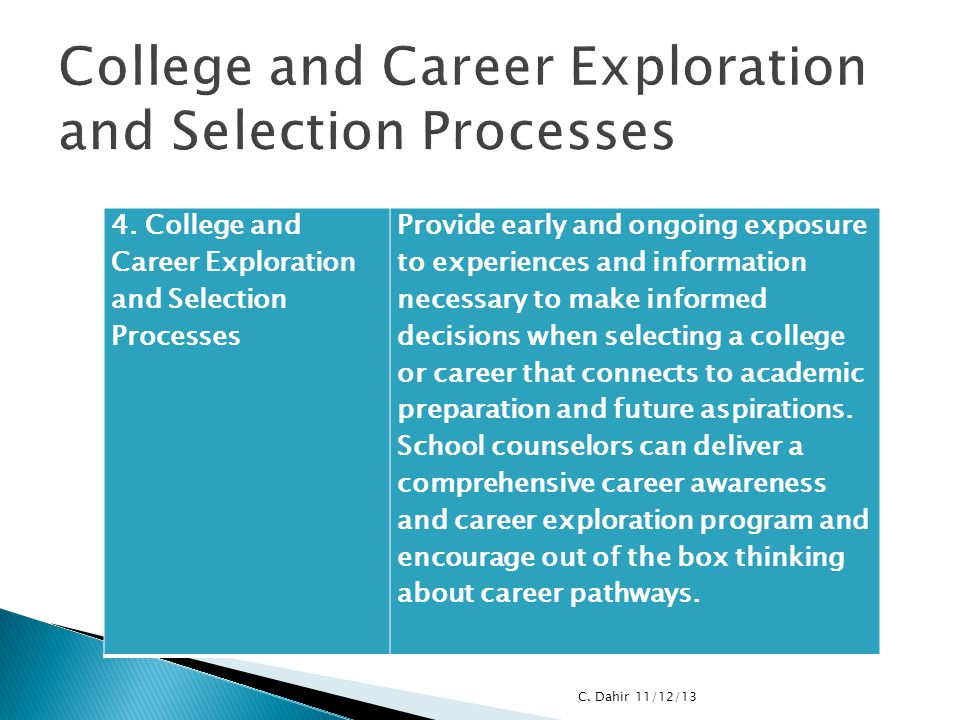 College and Career Exploration and Selection Processes