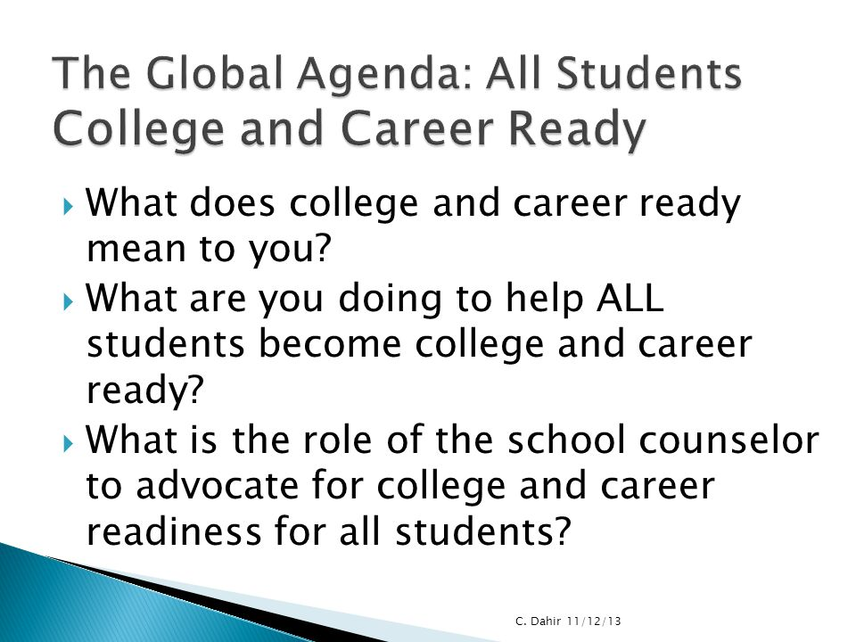 The Global Agenda: All Students College and Career Ready
