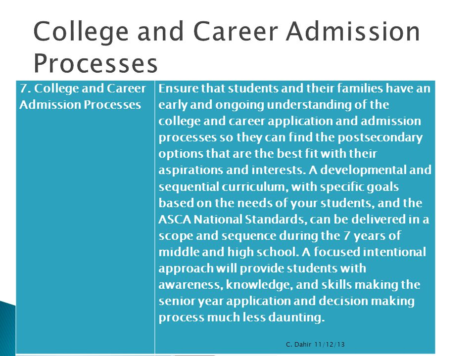 College and Career Admission Processes