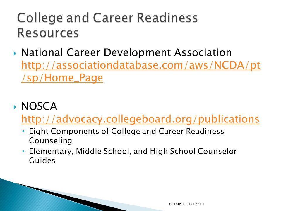 College and Career Readiness Resources