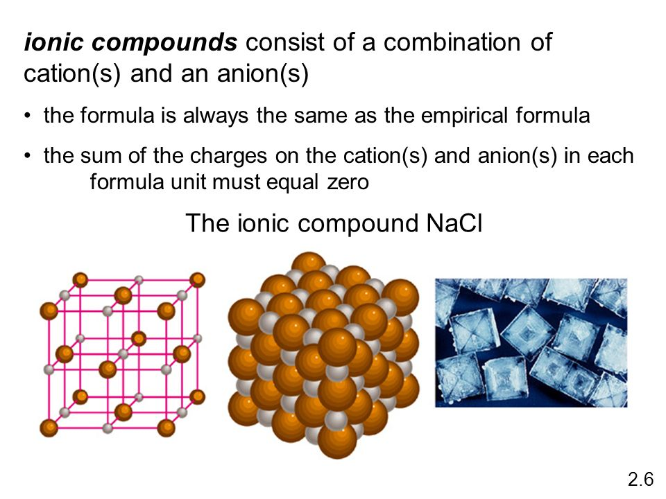The ionic compound NaCl