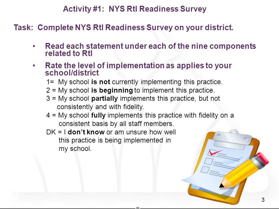 Activity #1: NYS RtI Readiness Survey