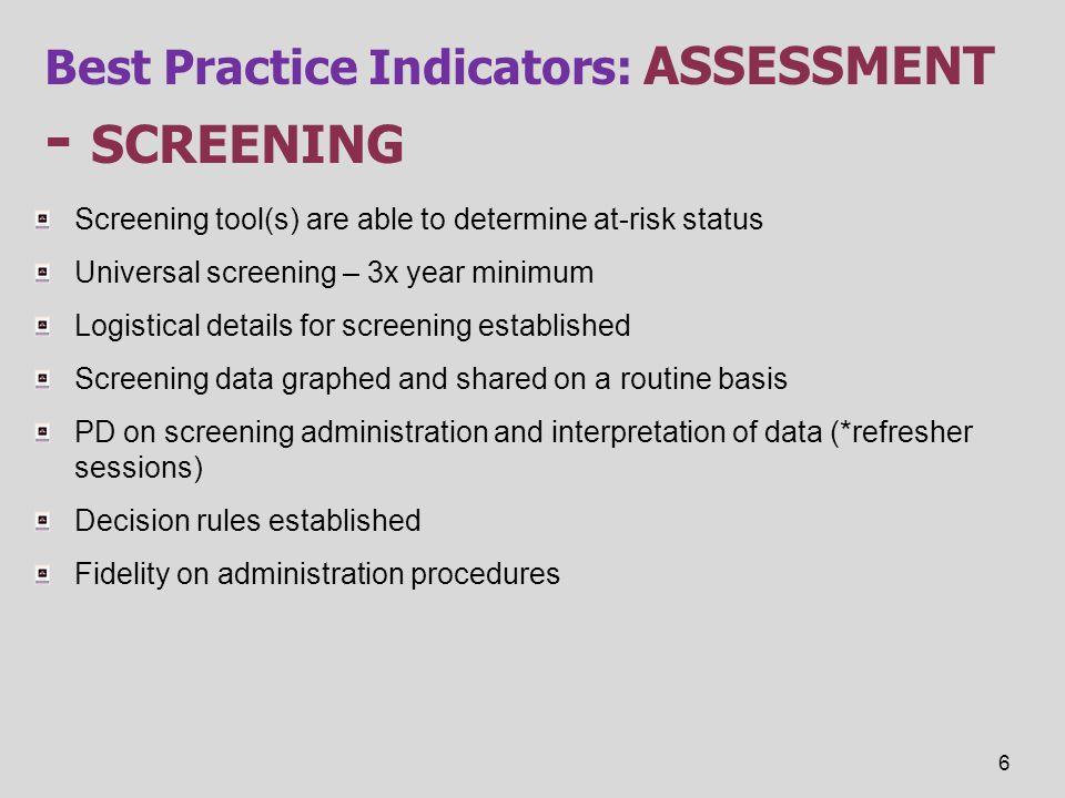Best Practice Indicators: assessment - screening