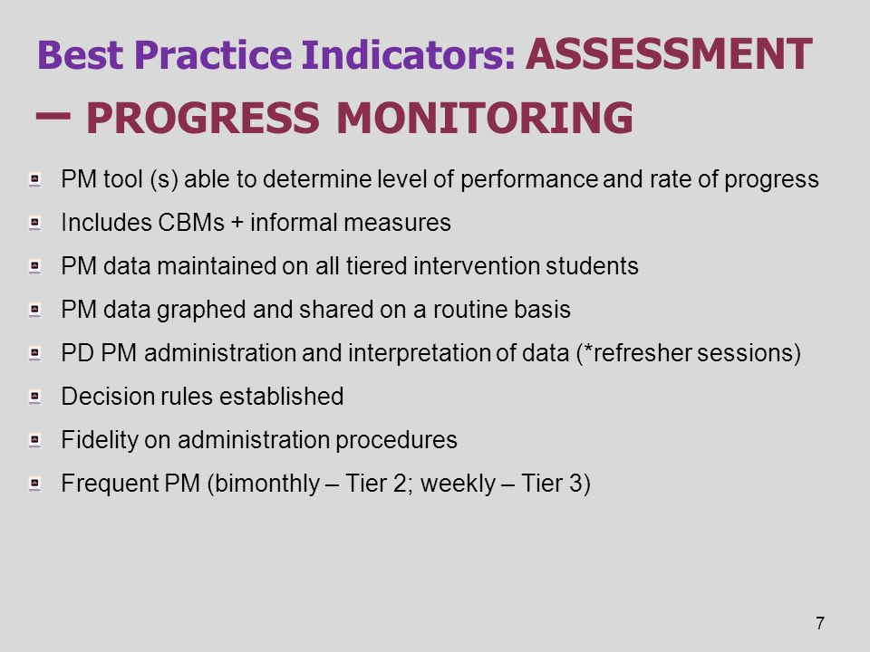 Best Practice Indicators: assessment – progress monitoring